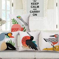 "18"" Car Bed Sofa Decor Throw Waist Cushion Pillow Case Cover Cartoon Bird Home"