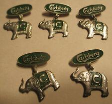 Lot (5) Rare Vintage 1847 Carlsberg Beer Elephant Hat Pin Badge Brewery SeeScans