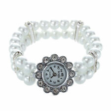 Reloj de Metal Rhinestone con Correa de perlas 25mm Blanco para las mujeres W3I2