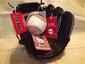 "Hello Kitty Teeball 9.5"" Black & Pink Glove w/Soft Baseball Right Hand Throw"