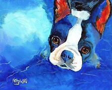 Boston Terrier Dog 11x14 signed art PRINT RJK painting