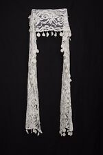 Off White Net W Flower Embellishment & Circle Knit Tassels Occasion Scarf (S184)