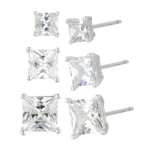 Sterling Silver and Cubic Zirconia Princess Cut Stud Earrings - 3 PAIR PACK