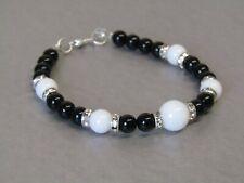 Snow White Jade & Black Agate with Diamante Beaded Bracelet, Perfect Gift