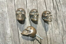 """4 small Skull Drawer Gothic Finger Pull Solid aged Brass 1.3/4"""" knobs drawers B"""