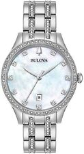 Bulova 96M144 Women's 36mm MOP Dial Silver Tone Crystal Watch *NWT+SHIPS FREE*