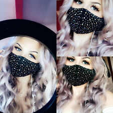Bling Face Mask Ultimate Midnight Diamonte Diamond Mask Two Layers Washable