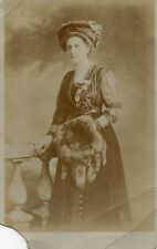 Well dressed Lady fox fur stole fur hat Real Photo Postcard (160RP)