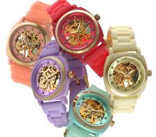 TKO ORLOGI Women's Skeleton Watch with Mechanical Movement & Rubber Band Strap