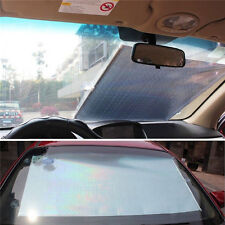 CAR RETRACTABLE FRONT REAR WINDSHIELD SUN SHADE COVER SHIELD BLIND VISOR Silver