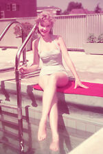 Anne Francis 11x17 Mini Poster Full Length In Swimsuit Posing By Pool Smiling