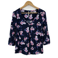 Jacqui E Womens Top Size 12 Floral Multicoloured 3/4 Sleeve