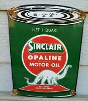 VINTAGE SINCLAIR PORCELAIN SIGN GAS MOTOR OIL CAN STATION PUMP DINO GASOLINE