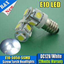 2 x 5050 LED Lamp Bulb 12V White MES E10 screw Torch / Lamp Bulbs Daylight White