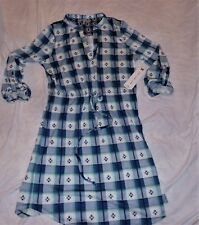 ALMOST FAMOUS BUCKLE LG BLUE TURQUOISE WHITE AZTEC POPOVER SHIRT DRESS BELTED