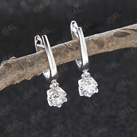 0.50 Carat Round Cut Solitaire Diamond Drop/Dangle Earrings 14k White Gold Over