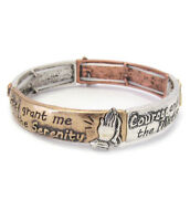 Serenity Prayer Multi Tone Cross  AA AL-ANON Inspirational Stretch Bracelet