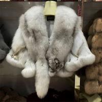 Real Fox Fur Luxury Cape High Quality Wrap Good Quality Poncho Coat Jacket Xmas