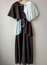 70s vintage 40s style evening maxi dress angel sleeves cream & brown sheer 6-8