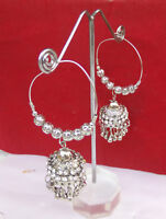 Ethnic Indian Silver Tone Fashion Jhumki Bollywood Style Loop Cz Earrings Set