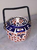 Vintage Crown Derby Octagon Biscuit Bowl - Porcelain Hand Painted Imari Style