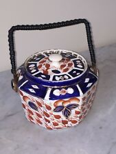 Vintage Crown Derby Octagon Biscuit Bowl - Porcelain Hand Painted Imari Style