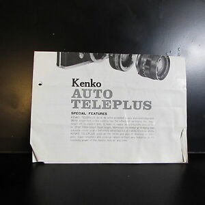 M42 Kenko Auto Teleplus Teleconverter lens Guide Brochure O401517