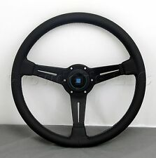 Nardi Classic Steering Wheel 360 mm Black Smooth Leather Grey Stitch Type A Horn