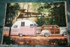 Camping Trailer - This Is How We Roll Tapestry Pillow Top Fabric Piece
