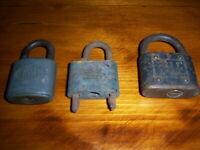 Vintage Lot of 3 Old Padlocks Fraim, Yale, and Miller No Keys