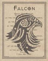 FALCON Parchment Page for Book of Shadows or Poster!