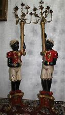 Antique Pair Italian Hand Carved Wood Blackamoor Torchere Candelabra Statues