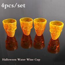 4pcs/set Halloween Wine Cup Plastic 3D Skull Head Drinking Cups Mug Party Supply