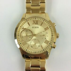 """Guess Watch Women Gold Tone Day Date Mineral Crystal New Battery 7.75"""""""