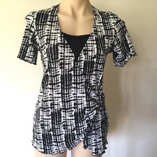 Women's black white pattern TOP Size 10 short sleeve cross over front and buckle