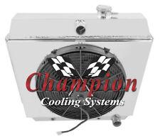 1949-1954 Chevrolet All Aluminum 3 Row KR Champion Radiator Fan Shroud Combo