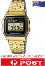 BRAND NEW CASIO A159W GOLD DIGITAL ALARM GOLDEN WRIST WATCH RETRO VINTAGE