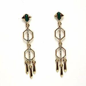 Earrings Nails Golden Chandelier Green Cobblestone Fine Art Deco Simple YW5
