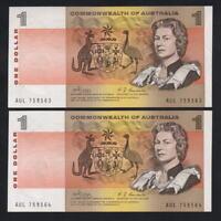 Australia R-73. (1969) 1 Dollar - Phillips/Randall. UNC - CONSECUTIVE Pair