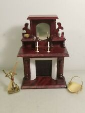 VICTORIAN DOLLHOUSE WOOD FIREPLACE WITH MANTEL SHELVES MIRROR & ACCESSORIES 1:12