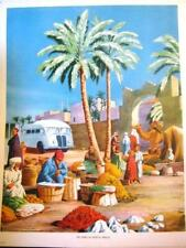 More details for genuine 1950s macmillian's ' oasis market in africa' education poster 21 x 16