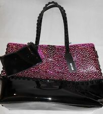 NEW Just Cavalli  Transparent Pink/ Black beach bag + purse  RRP £169