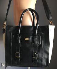 COLETTE Black & Ivory Leatherette Tote Bag with Shoulder Strap