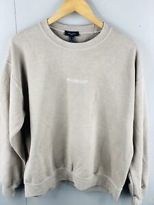 New Look Men's Vintage Long Sleeve Fleece Pullover Jumper Size S Brown
