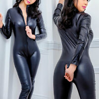 Sexy Women's PVC Wetlook PU Leather Bodysuit Clubwear Costume Jumpsuit Catsuit