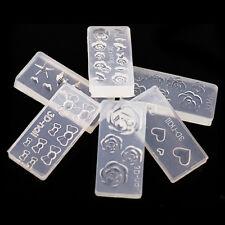 6pcs DIY Nail Art Tips 3D UV GEL Acrylic Powder Silicone Mould Set Nail Design H