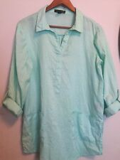 August Silk Mint Green Linen Tunic Shirt Blouse Turquoise XL X Large 14 16 Top