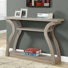 Console Table Curved Wood Top Shelf Sofa Couch Modern Display Entry Foyer Taupe
