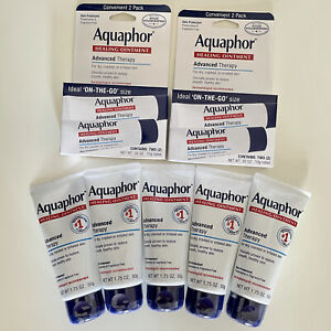 Aquaphor Advanced Therapy Healing Ointment 1.75 oz x5 + On the Go 0.35 oz x4 Lot