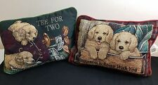 Pillow Cushions Puppy Dogs Green with Golf clubs Red Maroon play in box 1 Pair